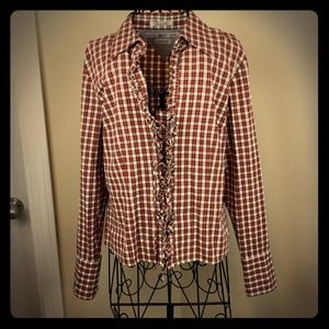 Tommy Hilfiger plaid ruffle corset blouse